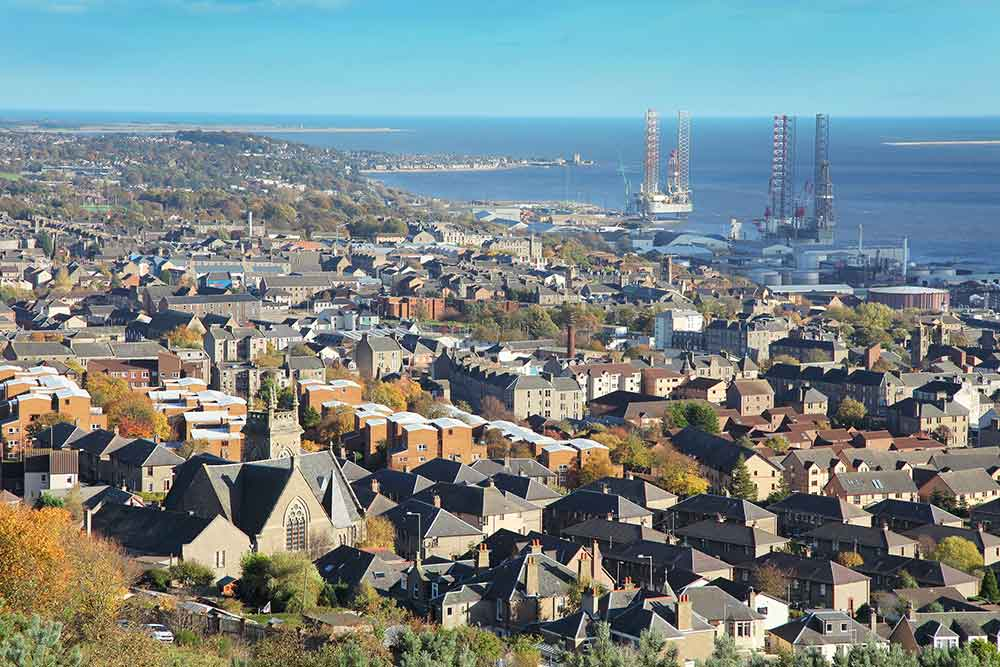 Dundee city aerial view